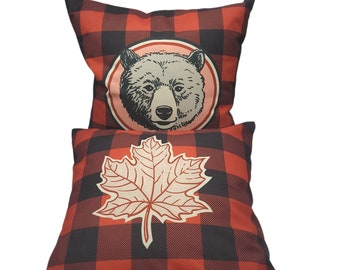 Buffalo Plaid Camper Cushion Covers Pack of 2 Sofa, Couch, Bed. Cottage Decorative Throw Accent Pillows. Leaf & Bear Print 18x18 in 45x45 cm