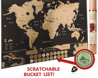 Scratch Off World Map Poster, Travel Journal As Travel Decor / Destination  Passport Stamps / Detailed Maps Of Caribbean, Europe, US U0026 Canada