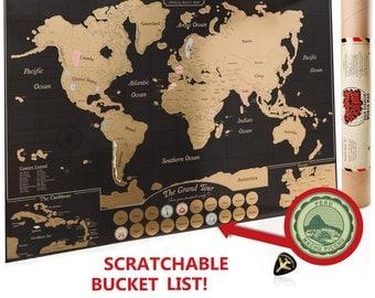 Scratch Off World Map Poster, Travel Journal as Travel Decor / Carte du Monde à gratter / USA Canada detail / Teacher or Graduation Gift