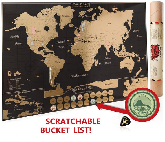 Scratch Off World Map Poster Travel Journal as Travel Decor / | Etsy