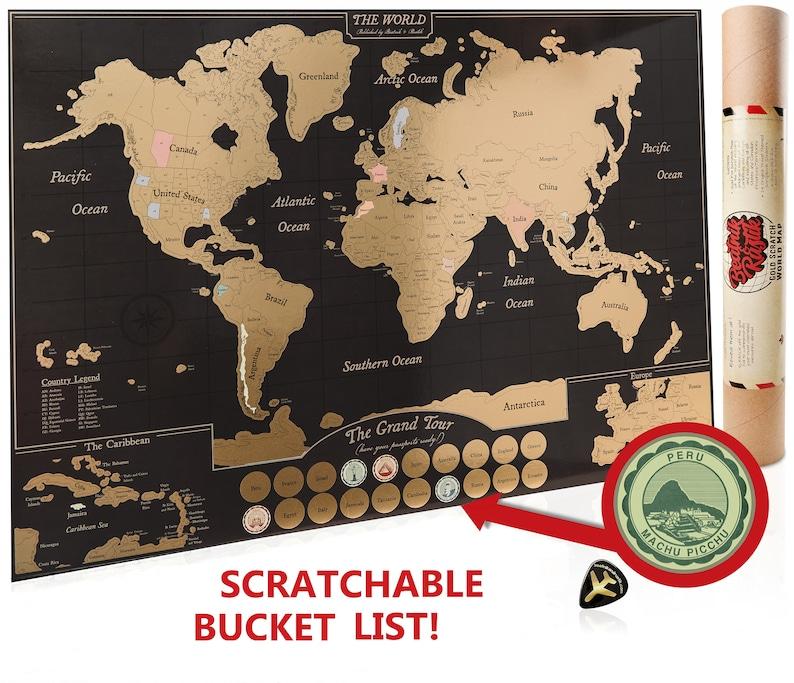 Scratch Off World Map Poster, Travel Journal as Travel Decor / Carte du  Monde à gratter / US, Canada detail / Teacher or Graduation Gift