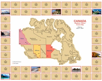 Canada Travel Scratch Map Poster - A National Parks Journal for Camping, Backpacking - Scratch Off to Reveal Postcard. #1 Graduation Gift