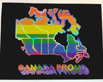 Gay Pride Flag Vinyl Sticker Canada Map with LGBTQ Lesbian Bi Trans Queer Rainbow on Holographic Surface.  For Laptop, Car Bumper, Wall, etc