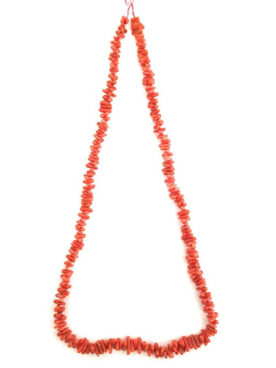 One Strand 100/% Natural Mediterranean Coral Necklace Cut /& Polished in Italy