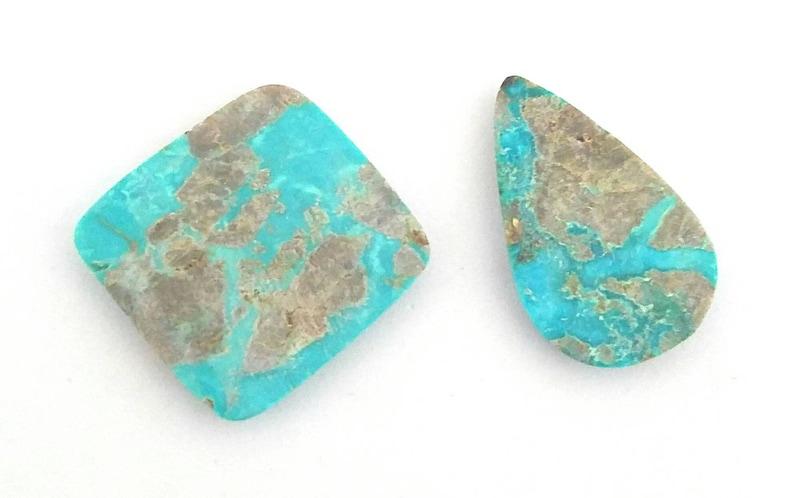2 pcs 100/% Genuine Turquoise Cabochons 25-29mm