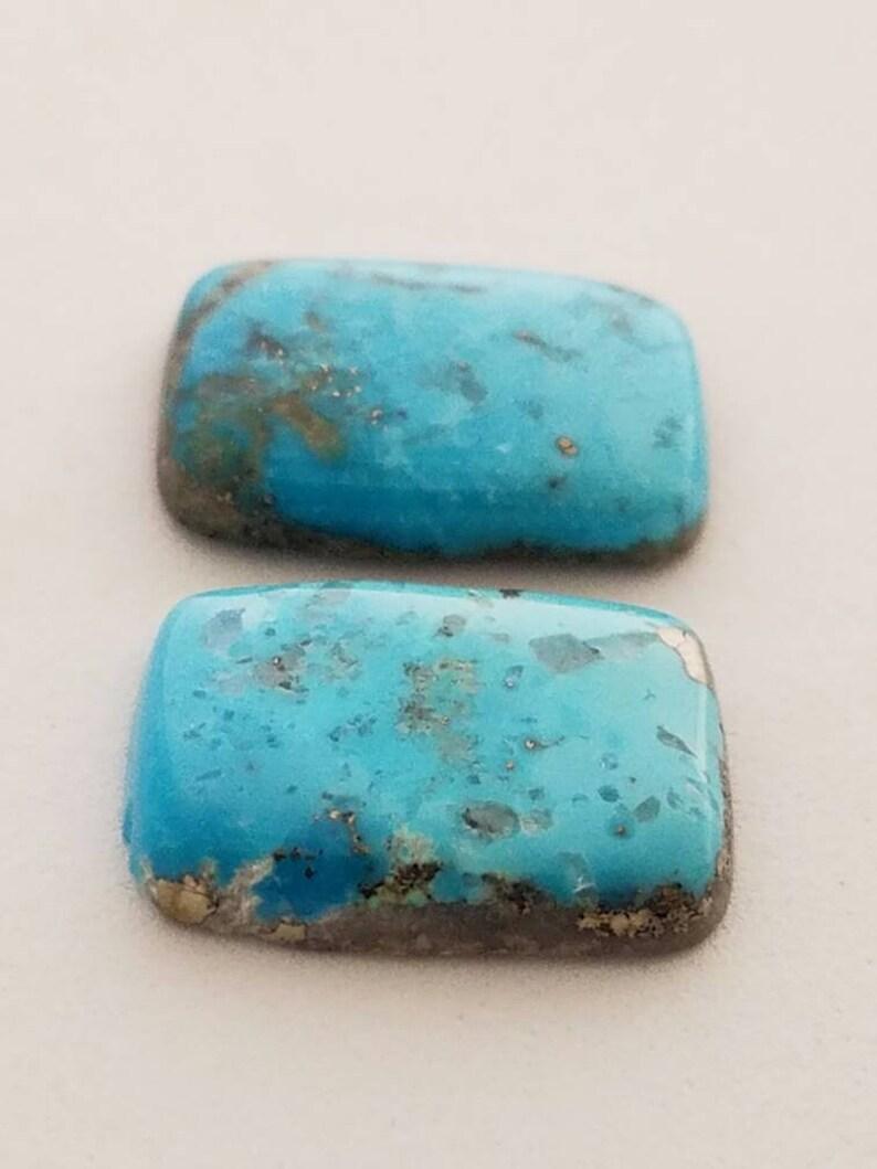 2 Rectangular 100/% Genuine Persian Turquoise Cabochons
