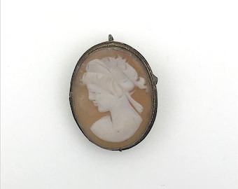 Vintage Sterling Silver Side Facing Cameo Lady Woman's Bust Side Profile Pendant for Necklace Brooch Pin 7140