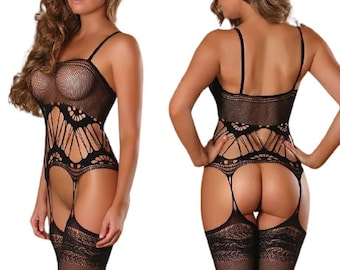 Sexy lingerie, open crotch transparent lace bodystocking