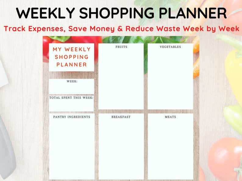 Printable Weekly Grocery List Grocery Shopping Planner Meal image 0