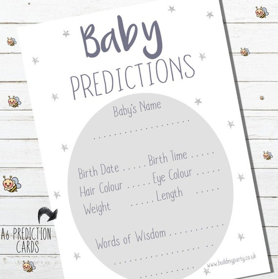Baby Shower Prediction /& Advice Party Game Quiz Pack of 10 Boy Girl Unisex