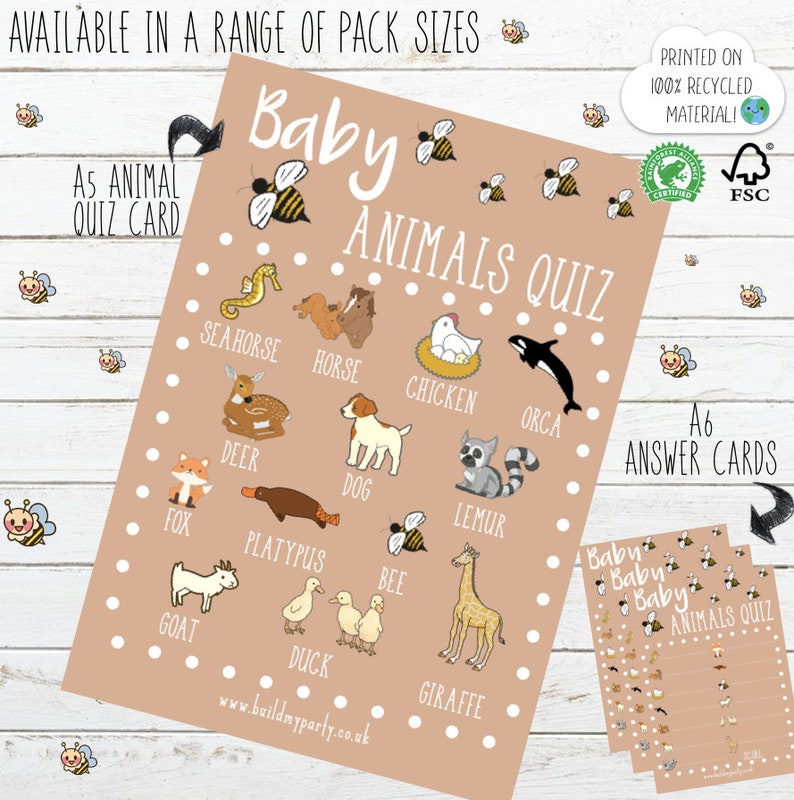 Baby Animals Cute Bee Quiz Game - Baby Shower Party Pack - Kraft Card Style  Cute Rustic Vintage Design - Printed - Boy Girl Unisex