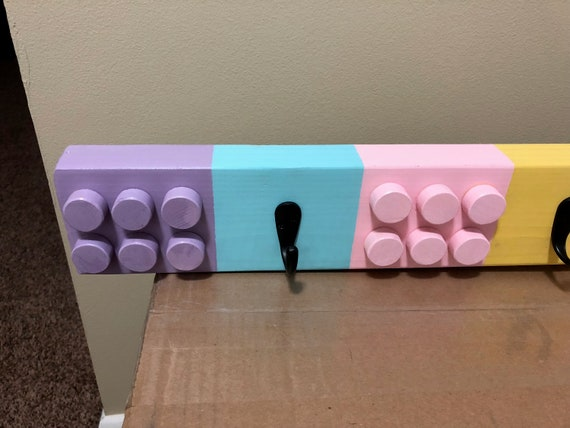 Girls LEGO Coat Rack With Rubbed Bronze Hooks Etsy Awesome Lego Coat Rack