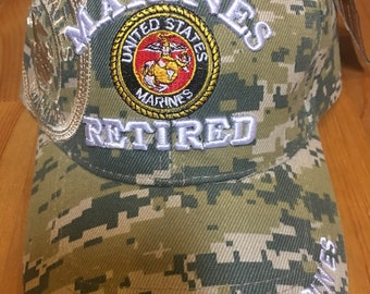 36b27c580a800 MARINES RETIRED U.S. MARINE Corp Emblem Embroidered Ball Cap Hat Light Camo