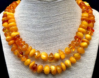 men/'s women/'s unisex jewelry Natural Baltic Amber stone pendant necklace authentic polished natural hole egg yolkhoneyyellow 28.5 g