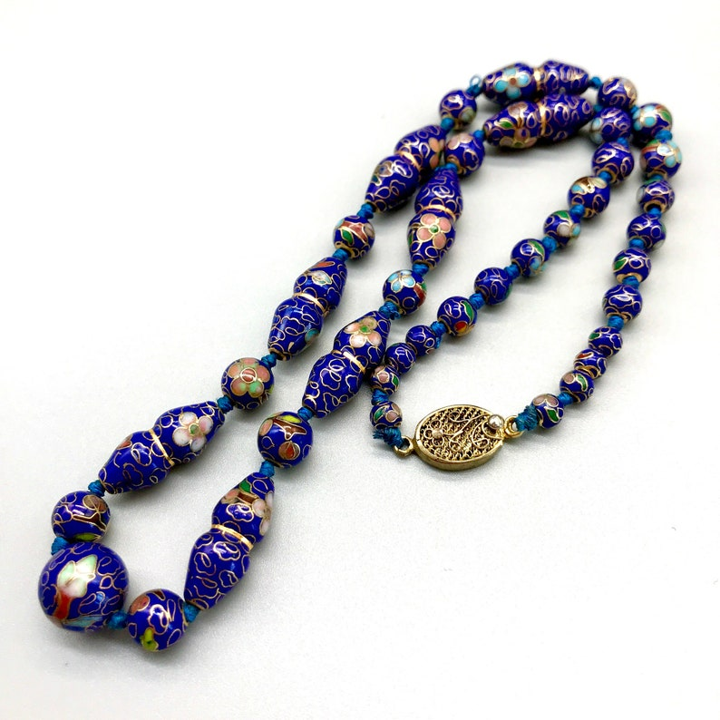 Collectible Chinese Export Enamel Beaded Necklace Vintage Rare Cloisonne Floral Cobalt Blue Bead Choker Necklace Valentine Day Gift