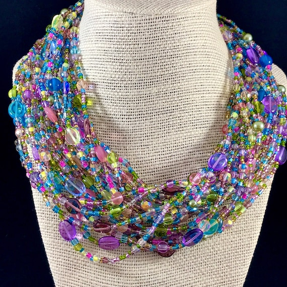 Joan Rivers Necklace | Long Pastel Glass Beaded To