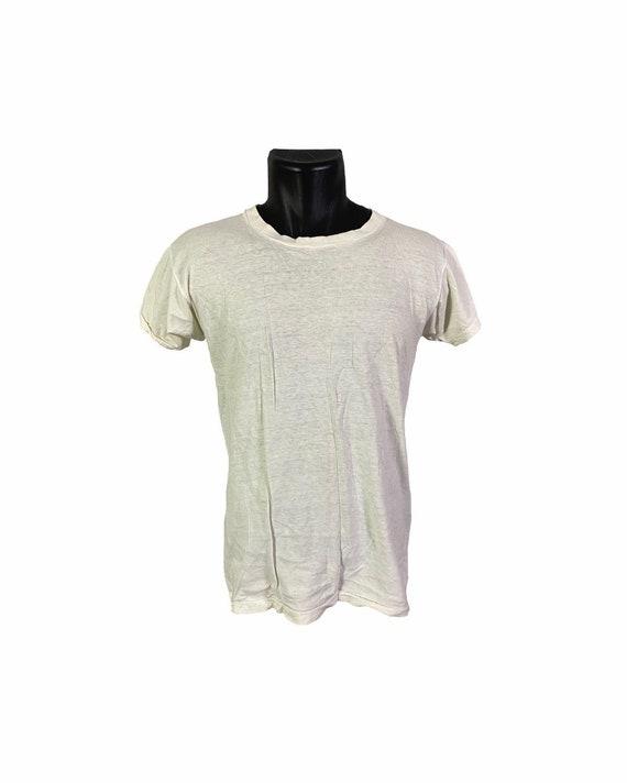 Vintage 60s Well Worn Plain White T shirt | M