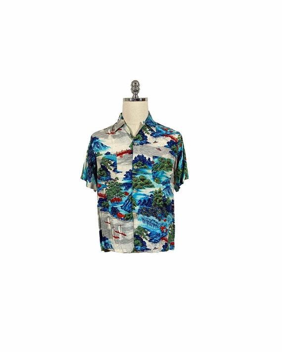 Vintage 50s Penney's Rayon Hawaiian Shirt | M