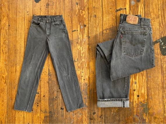 Vintage 80s Graphic Print Bleached Jeans 24x29