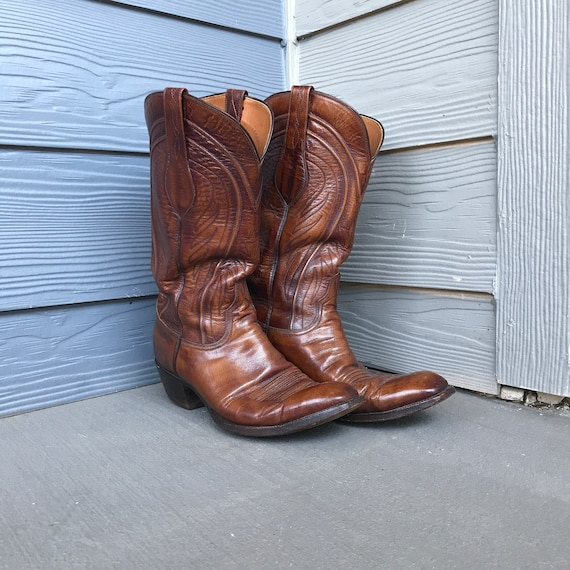 Vintage Lucchese Western Brown Leather Boots | Siz
