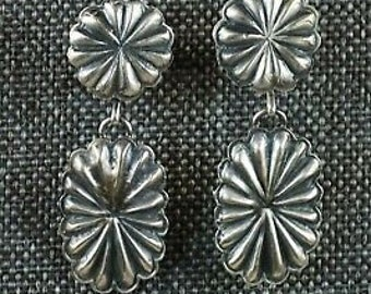 Native American Indian Jewelry Sterling Silver Ribbed Pendant by Thomas Charley