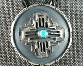 Navajo Turquoise and Sterling Silver Zia Bolo Tie - Daniel Benally