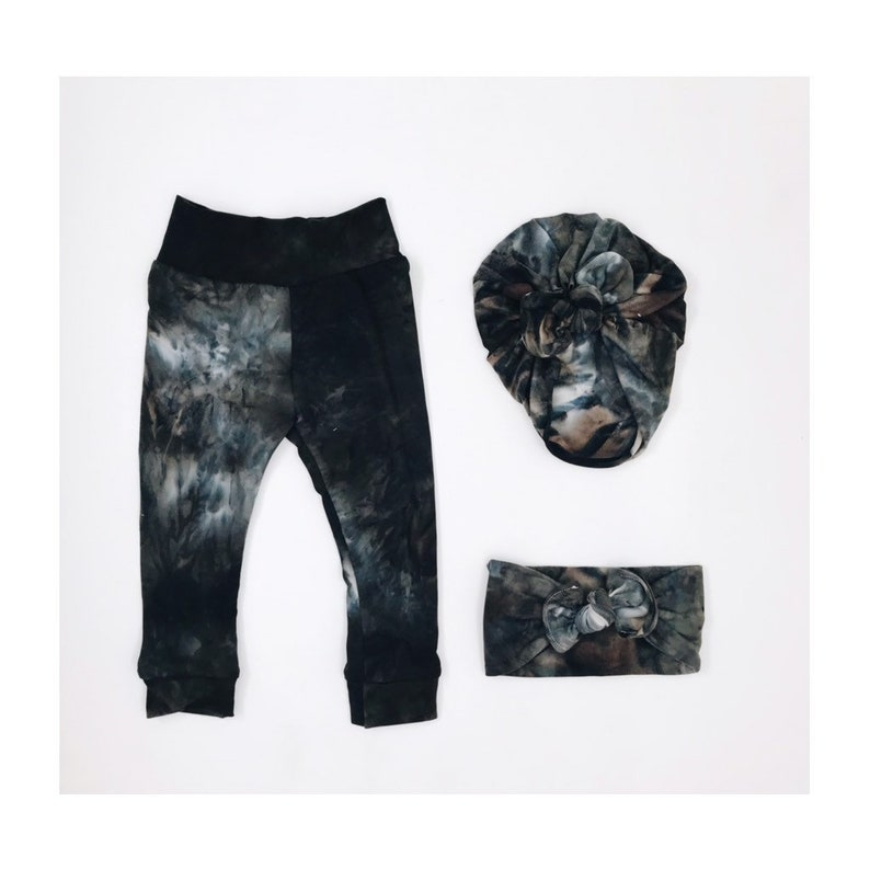 bow turban baby bottoms bow headband fall clothes matching set navy tiny flowers Tie Dye Leggings little girl pants pink
