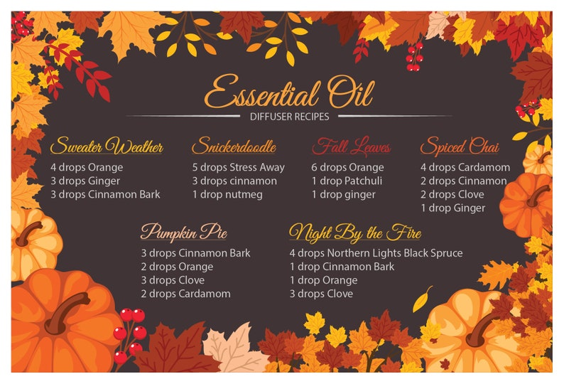 Young Living Fall Diffuser Recipe Post Card
