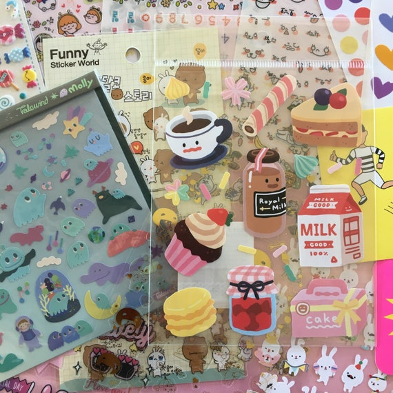 Kawaii rainbow Unicorn stickers Kawaii stickers Kawaii sampler pack stickers
