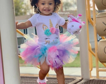 Unicorn Birthday Outfit Bodysuit First Baby Girl 1st Tutu Set Shirt