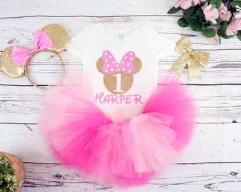 Minnie First Birthday Onesie Minnie Mouse birthday bloomers outfit FREE SHIPPING,Red  Personalized Minnie Mouse birthday bodysuit