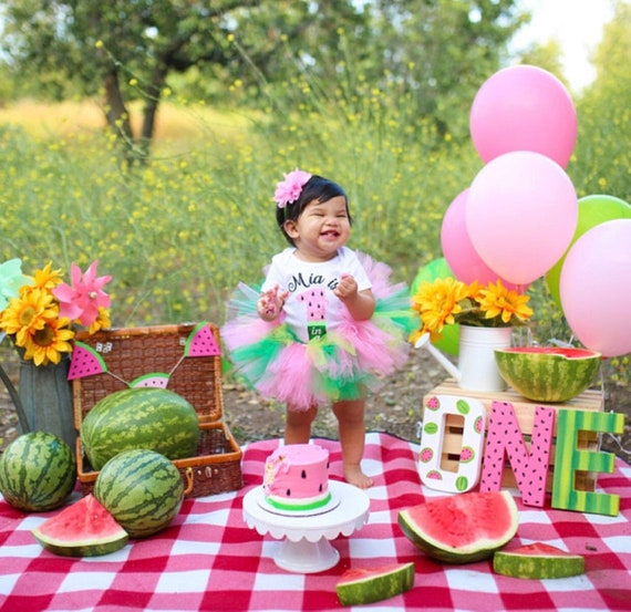 Tutu Summer Outfit Girl Birthday FREE SHIPPING Watermelon Birthday |First Birthday Outfit |One In A Melon First Birthday| Watermelon