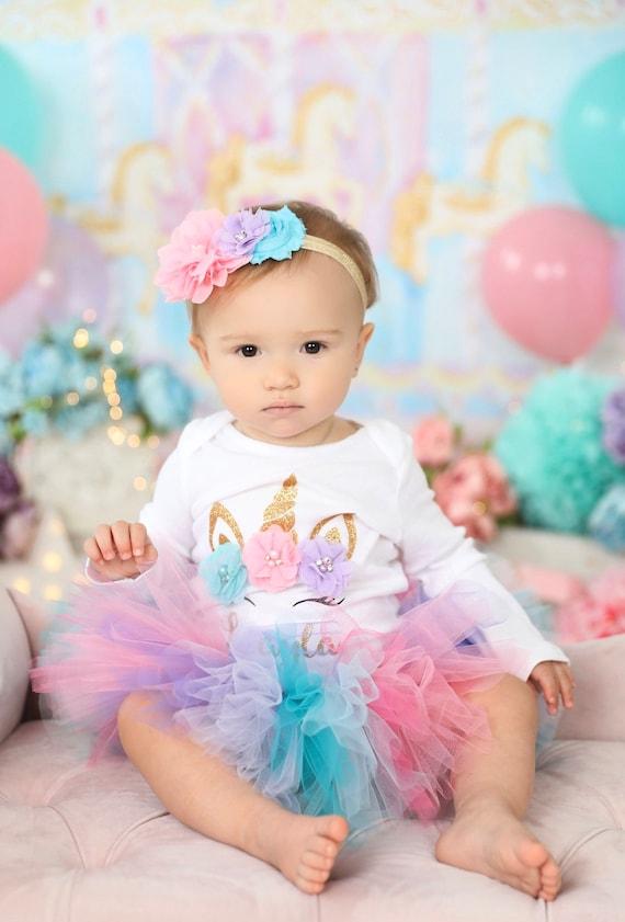 Unicorn theme birthday Unicorn party Unicorn horn first birthday outfit baby girl i am magical onesie