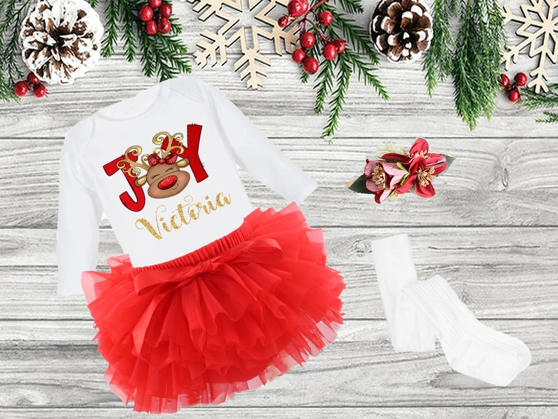 Christmas girl Outfit personalized baby girl reindeer Christmas outfit christmas dress baby girl Christmas outfit Girl red christams outfit