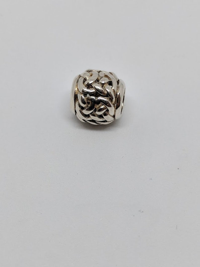 Silver Celtic Knot Bead  Barrel on Black Satin Cord
