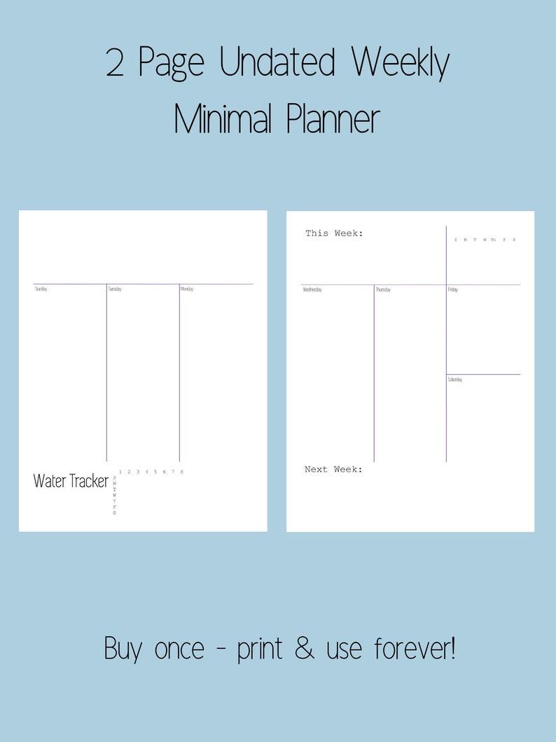2 Page Minimal Weekly Undated Printable Planner image 0
