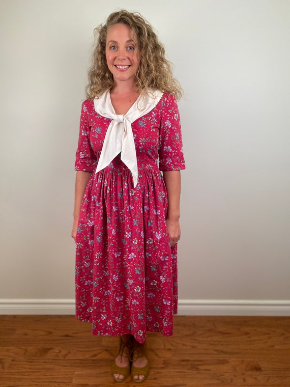 Laura Ashley Sailor Dress,  Vintage Floral Dress,