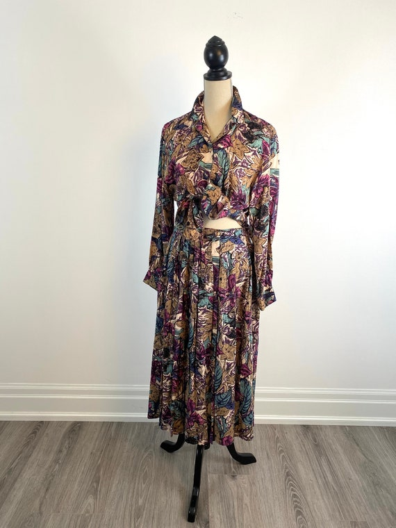 90's Vintage Matching Skirt and Blouse Set