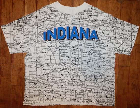 "Vintage Indiana State ""Map"" All-Over-Print Shirt"