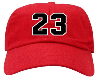 8095dc56329 23 Jordan Jersey Number Red Dad Hat