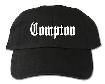 d3f99749f46 Compton Unstructured Black Dad Hat