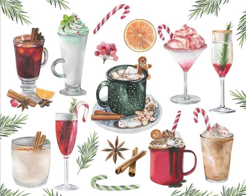 Christmas PNG,Digital Christmas Clipart Watercolor Christmas Food Clipart,Watercolor Christmas Dinner Clipart