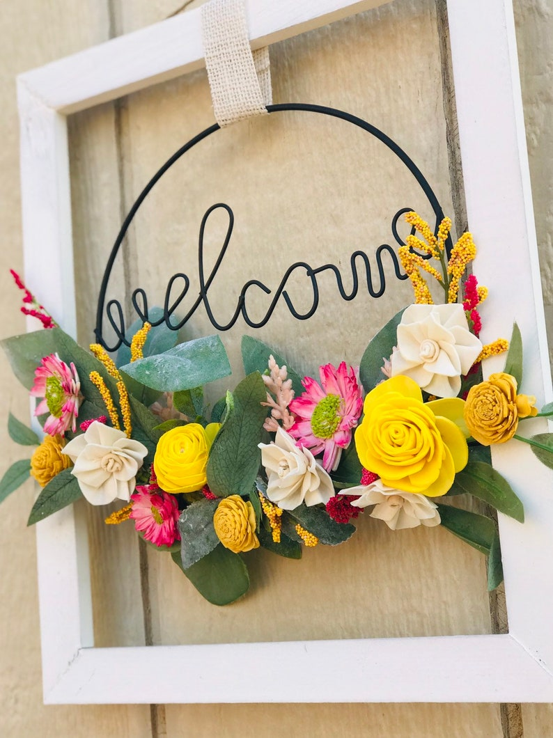 Wood Flower Welcome Sign  Wildflower Welcome Sign