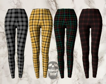 b3d1dbcc32e7e9 plaid high-waisted leggings - multiple colors - plaid outfit set