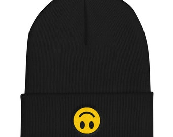 caa9408a050fed upside down smiley face - cuffed embroidered beanie