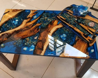 Ocean design Resin COFFEE TABLE Set / Gift serving board and coasters
