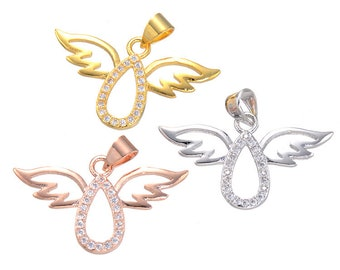 Tiny CZ crystal Angel Girl Charm,CZ zircon Stone Micro pave Pendant,women Jewelry Finding DIY necklace making JP111