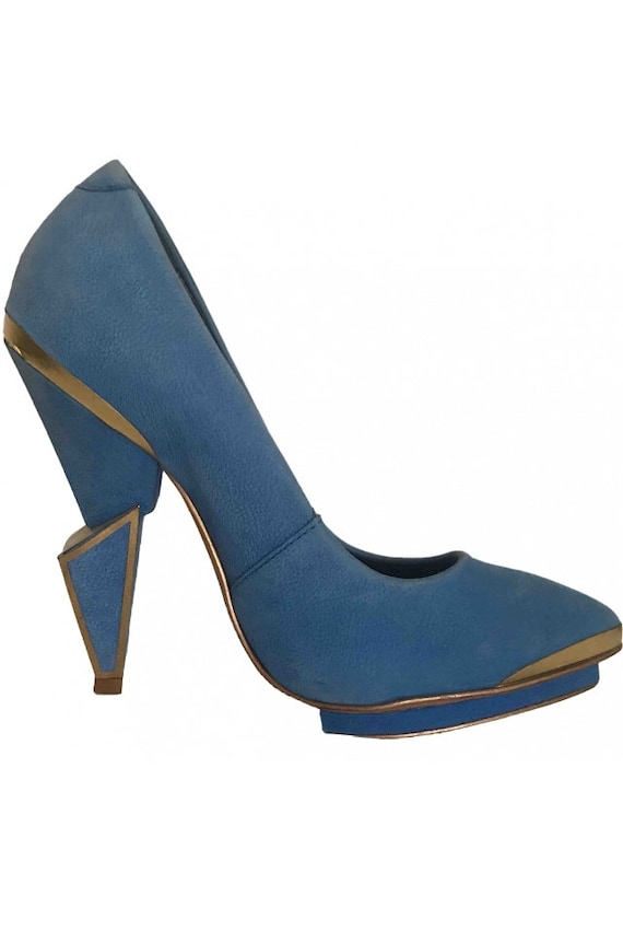 Vintage Late 80's  High Heels, Blue and Gold High
