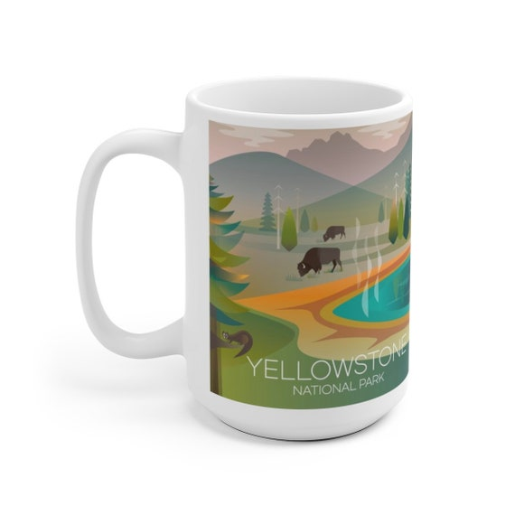 Yellowstone National Park Grand Prismatic 15 Oz Ceramic Mug