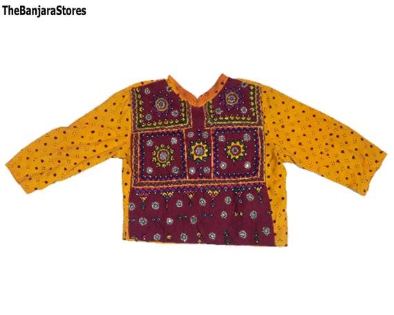 Vintage rabari banjara Choli kuchi gypsy boho belly dance Mirror embroidered Work crop top choli